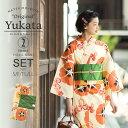 京都きもの町オリジナル 浴衣2点セット「橙色 朝顔」S、F、...