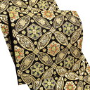 礼装 袋帯「黒色 七宝華芳文」未仕立て 正絹帯 礼装帯 フォーマル <T>【メール便不可】