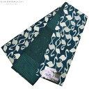 小袋 半幅帯「ブルー フラミンゴ」細帯 日本製 半巾帯 小袋帯 <H>【メール便不可】