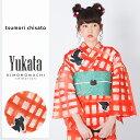 ツモリチサト 浴衣単品「赤格子 猫」tsumori chisato 浴衣 女性 レディース 綿浴衣 日本製 【メール便不可】