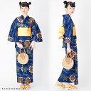 京都きもの町オリジナル 浴衣単品「紺色 水車」3L、4L 綿浴衣 大きいサイズ レトロ 【メール便不可】