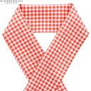 柄 半衿「オレンジレッド 格子」半衿 日本製 オシャレ小物 ポリエステル半衿 【メール便対応可】
