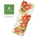 ショッピング机 UNSODO ブランド浴衣単品 「赤オレンジ緑の花(9U-11)桂友同机会」 Fサイズ