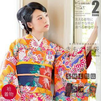 기모노 복 주머니 袷 기모노 + 京 袋帯 사이즈 S/M/L/TL/LL 여성용 키 모노 code03
