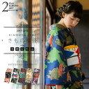 《洗える着物 セット》袷 小紋 きもの福袋2点セット 袷着物+京袋帯 サイズS/M/L/TL/