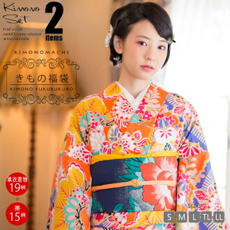 기모노 복 주머니 単衣 기모노 + 京 袋帯 사이즈 S/M/L/TL/LL 여성용 키 모노 code03 fs3gm