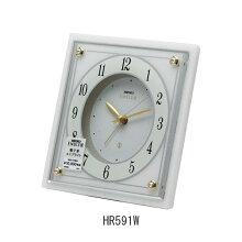 セイコー置き時計 エンブレム HR591W(白大理石)目覚まし時計(電子音) 電池式・ルミブライト付メーカー1年保証 SEIKO-Clock-EMBLEM-HR591W
