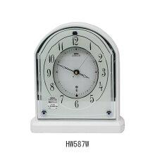 セイコー エンブレム 置き時計 HW587W電波クロック(電池式)メーカー1年保証 SEIKO-EMBLEM-Clock-WH587W