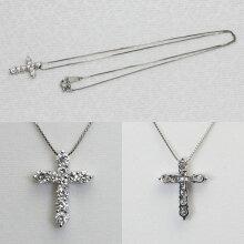プラチナ クロスネックレス ダイヤモンド 1.04ct クロスペンダント 十字架 Pt850