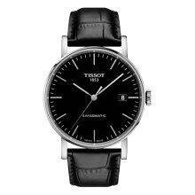 正規品 ティソ腕時計(エブリタイム スイスマティック)T109.407.16.051.00 黒文字盤/黒革バンド(機械式自動巻きモデル)EVERYTIME SWISSMATIC Gent(メンズ)メーカー2年保証TISSOT−T1094071605100