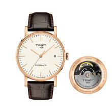 正規品 ティソ腕時計(エブリタイム スイスマティック)T109.407.36.031.00ローズゴールドPVDケース/白文字盤/茶革バンド(機械式自動巻きモデル)EVERYTIME SWISSMATIC Gent(メンズ)メーカー2年保証TISSOT−T1094073603100