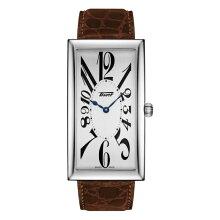 ティソ腕時計 T117.509.16.032.00 バナナウォッチTISSOT ヘリテージ バナナ センテナリー エディション銀色文字盤/茶色カーフストラップ(クォーツモデル)メーカー2年保証 正規品TISSOT−T1175091603200