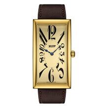 ティソ腕時計 T117.509.36.022.00 バナナウォッチTISSOT ヘリテージ バナナ センテナリー エディション金色文字盤/茶色カーフストラップ(クォーツモデル)メーカー2年保証 正規品 TISSOT−T1175093602200