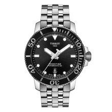 正規品 ティソ腕時計 T120.407.11.051.00/黒文字盤/SSブレスレット(機械式自動巻き)/TISSOT SEASTAR 1000 AUTOMATIC(メンズ)/メーカー2年保証 TISSOT−T1204071105100