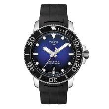 正規品 ティソ腕時計 T120.407.17.041.00/青文字盤/黒色ラバーバンド(機械式自動巻き)/TISSOT SEASTAR 1000 AUTOMATIC(メンズ)/メーカー2年保証 TISSOT−T1204071704100