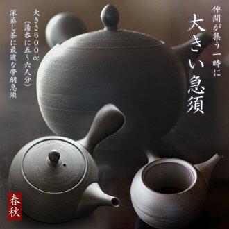 大茶壺常滑燒深蒸棕帶網茶壺春天 600 cc 杯和 5-6 杯-這舔燒 05P30Nov13