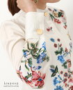 「cawaii french」アジアンテイストの花模様が優雅に映えるスタンドカラー長袖シャツブラウス【オフホワイト】
