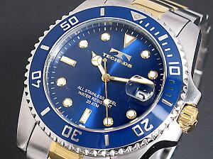 テクノス(TECHNOS)/腕時計/20気圧防水/T2118TN/文字盤/ベゼル/ネイビー/コンビベルト