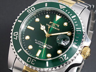 72% Off technos TECHNOS mens watch 20 atmospheric pressure water resistant T2118TM dial bezel green コンビベルト