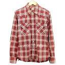 男性流行服飾 - 【中古】THE FLAT HEAD刺し子ウエスタンチェックシャツ レッド ブラウン サイズ:−