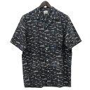 【中古】steven alan プリント 半袖 オープンカラーシャツ ブラック サイズ:M 【200419】(スティーヴンアラン)