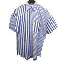 【中古】JOINT WORKS 18SS オーバーサイズ半袖ストライプシャツ ネイビー サイズ:L 【040519】(ジョイントワークス)