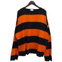 【中古】URU 18AW「BORDER L/S TEE」ボーダー長袖Tシャツ ネイビー×オレンジ サイズ:2 【201119】(ウル)