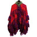 中古 sacai×reyn spooner 18AW 「fringed embroidered cardigan」 フリンジニットポンチョ レッド サイズ:1  250120  サカイ レインスプーナー