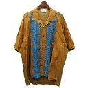 【中古】WRAPINKNOT ニット切替半袖オープンカラーシャツ ブラウン サイズ:3 【210220】(ラッピンノット)