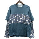 【中古】ETHOSENS レイヤードデザイン長袖シャツ ブルー サイズ:1 【280220】(エトセンス)