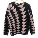 【中古】Paul Smith 総柄クルーネックニットセーター ブラック×ピンク サイズ:M 【060320】(ポールスミス)