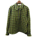 ショッピングMARNI 【中古】MARNI 2017AW ハーフジップチェックシャツ グリーン サイズ:46 【180320】(マルニ)