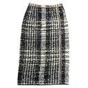 ショッピングSSK 【中古】N 21チェック柄ウールスカート ホワイト×ブラック サイズ:42 【7月2日見直し】