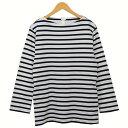 【中古】YAECA ボートネック ボーダーロンT Tシャツ バスクシャツ ネイビー×ホワイト サイズ:M 【280320】(ヤエカ)