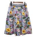 【中古】Lois CRAYON 花柄プリーツスカート ライトブルー サイズ:M 【310320】(ロイスクレヨン)