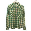 ショッピングダブルガーゼ 【中古】TMTダブルガーゼチェックシャツ グリーン サイズ:S