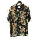 【中古】DIET BUTCHER SLIM SKIN × NIPOALOHA18SS 「aloha shorts」 アロハシャツ ブラック サイズ:2 【6月1日見直し】