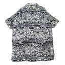 【中古】Robes & Confections レーヨン総柄半袖オープンカラーシャツ ネイビー サイズ:- 【280620】(ローブズアンドコンフェクション)