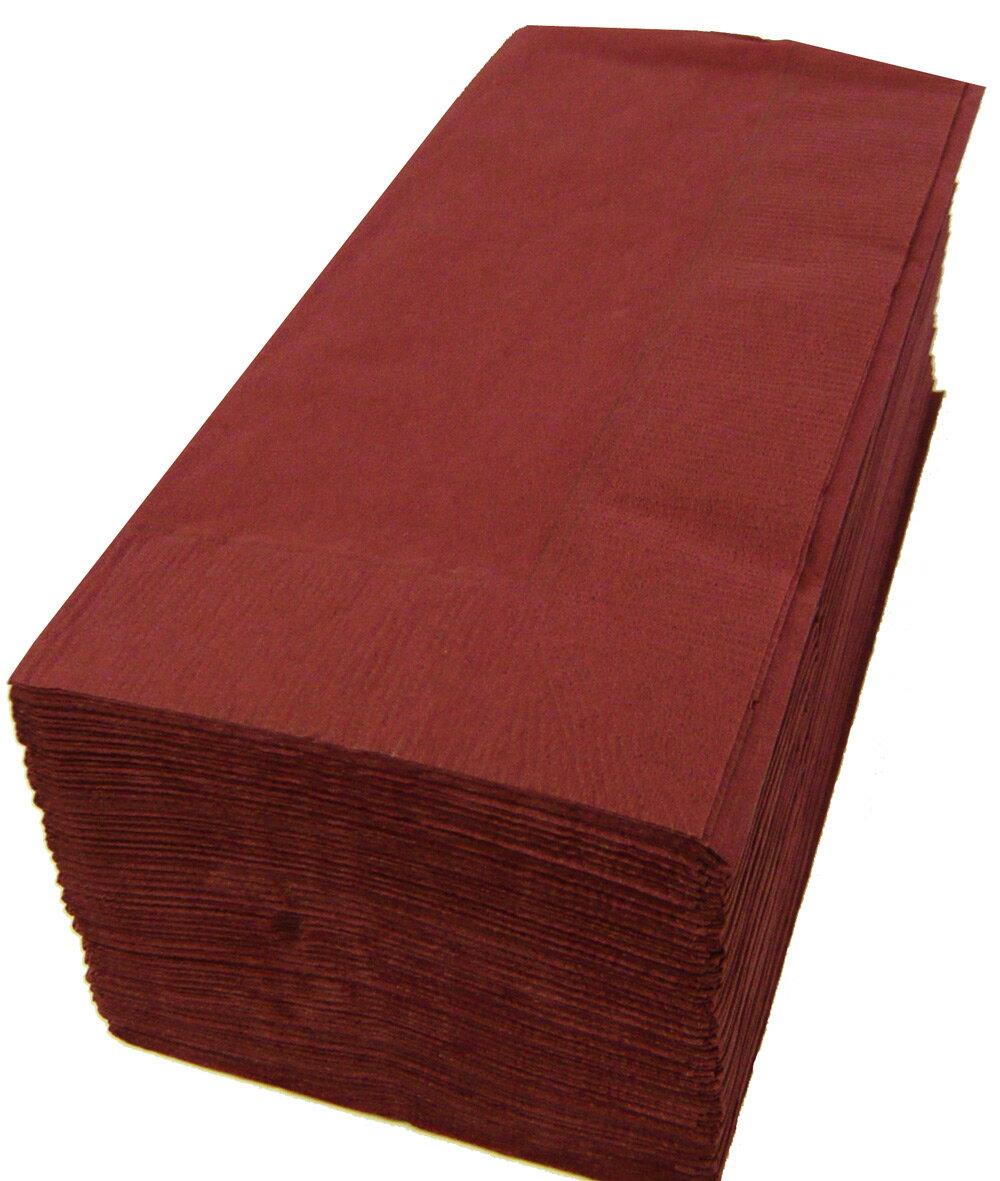 【紙ナプキン】8つ折り2PLYナプキン「ワインレッド」(1ケース2000枚)