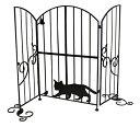 在庫限定10!!【送料無料】シルエットゲート 窓辺のネコ SI-1952 目隠し 仕切り アイアン 犬 猫 侵入 脱走 防止