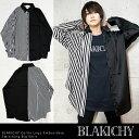11月上旬頃入荷の予約販売BLAKICHY 襟ロゴ刺繍ストライプ切替ビッグシャツ原宿 韓国