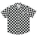 7ユニオン シャツ 半袖 オープンカラー 7UNION Checker Shirt IPVW-017C BLACK WHITE ブラック ホワイト