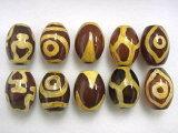 天珠アソート(亀甲・虎牙・二眼・宝瓶・佛眼 各2粒)樽型 約16×12mm ビーズ10粒