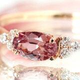 【】x x x Bizouxタンザニア産「桜色」シャンパンガーネット×ダイヤモンド×K18カラーゴールドリング・フラヴィ