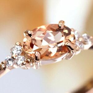 18K ブラジル・ミナスジェライス産インペリアルトパーズ ダイヤモンド イエローゴールド ピンクゴールド ホワイトゴールドリング 指輪・フラヴィ 11月誕生石 華奢 シンプル デザイン 女性 レディース K18 18金 ファッションリング ブランド Bizoux ビズー 送料無料