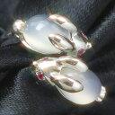 【2017年1月以降お届け】ルビー ムーンストーン K18 ピンクゴールド ホワイトゴールド イエローゴールド リング レディース 指輪・月うさぎのリング レディース 指輪 18K 18金 【アニマルジュエリー】 華奢 シンプル ファッションリング 可愛