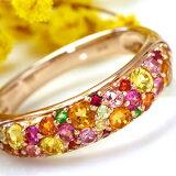 【】x x x Bizouxイエローダイヤモンド、ビルマ産ルビー・・11色のマルチカラージュエル×K18カラーゴールド「ブーケ」パヴェリング・ミモザブーケ