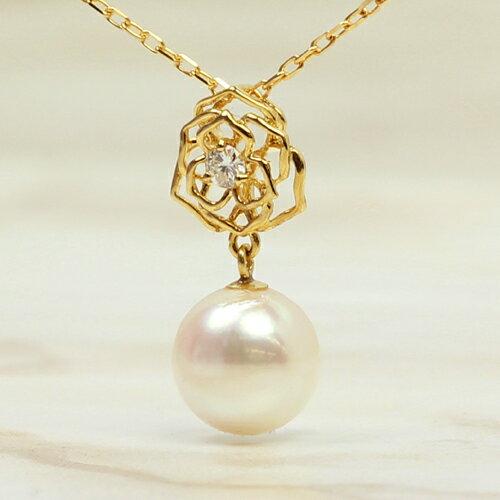 あこや真珠 本真珠 10K ネックレス・セリリナ ペンダント レディース ピンクゴールド ホワイトゴールド 本物 バラ 薔薇カラーストーン モチーフ かわいい パーティー 結婚式 シンプル 上品 アコヤパール おしゃれ 10金 デザインネックレス ブランド