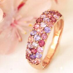 10種類のピンクジュエル×K18カラーゴールドリング・桜吹雪