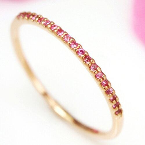 ピンクサファイア K10 ピンクゴールド リング 指輪・ミンセール ピンキーリング対応 エタニティリング イエローゴールド ホワイトゴールド 重ねづけ 華奢 ファランジリング ミディリング 関節リング華奢 シンプル 可愛い ゆ ブランド 宝石